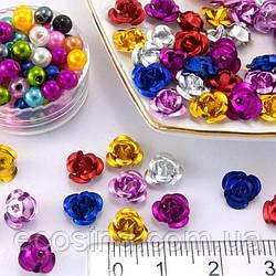 (35-40 шт) Розочки металл Ø7мм, серединки Цвет - МИКС (сп7нг-0309)