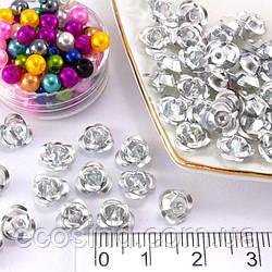 (35-40 шт) Розочки металл Ø7мм, серединки Цвет - Серебро (сп7нг-0314)