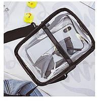 Спортивная черная сумочка прозрачная с мешочком через плечо опт, фото 1