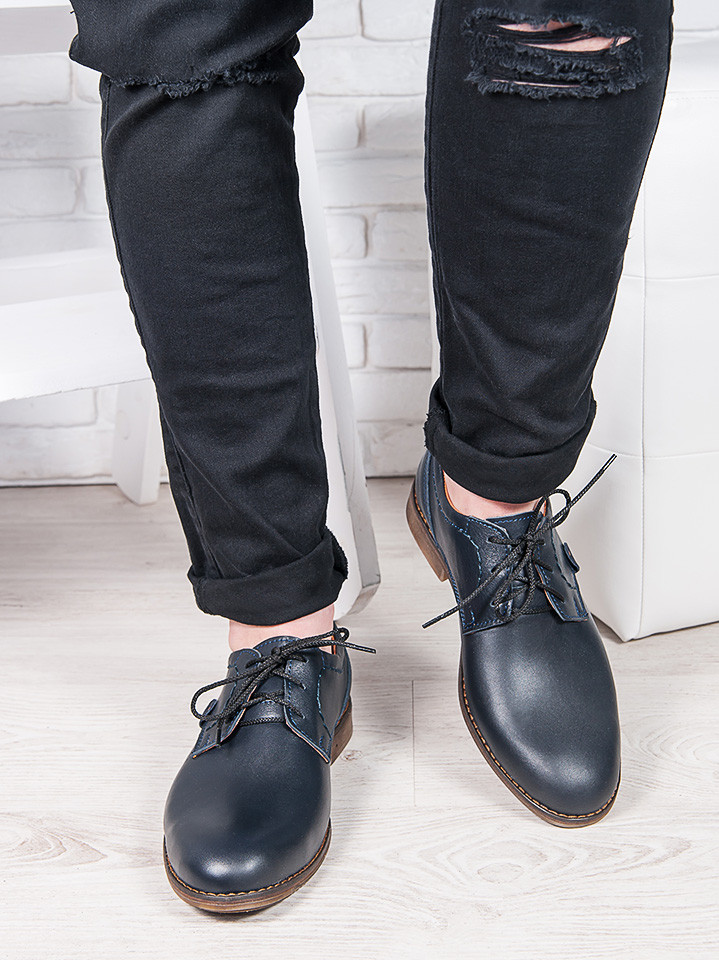Мужские кожаные туфли т. синие 6878-28