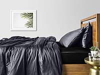 Комплект евро взрослого постельного белья сатин BLACK GREY-S