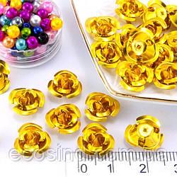 (35-40шт) Розочки металл Ø11мм, серединки Цвет - Золото (сп7нг-0665)