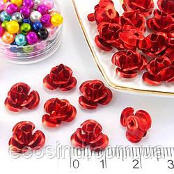 (35-40шт) Розочки металл Ø11мм, серединки Цвет - Красный (сп7нг-0662)