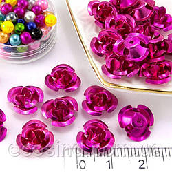 (35-40шт) Розочки металл Ø11мм, серединки Цвет - Малиновый (сп7нг-0660)