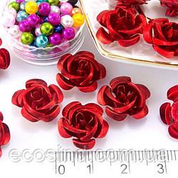 (35-40шт) Розочки металл Ø15мм Серединки Цвет - Красный (сп7нг-1615)