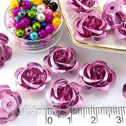 (35-40шт) Розочки металл Ø15мм Серединки Цвет - Розовый (сп7нг-1616)