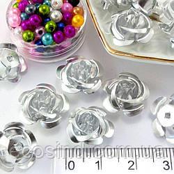 (35-40шт) Розочки металл Ø15мм Серединки Цвет - Серебро (сп7нг-1617)