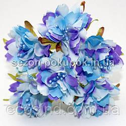Букетик Хризантема Элит d=3.5-4см  (цена за букет из 6 шт). Цвет - Сиренево-голубой