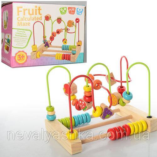 Деревянная игрушка Лабиринт Развивающий на проволоке счеты со счётами 22х17см, MD 0906, 006622