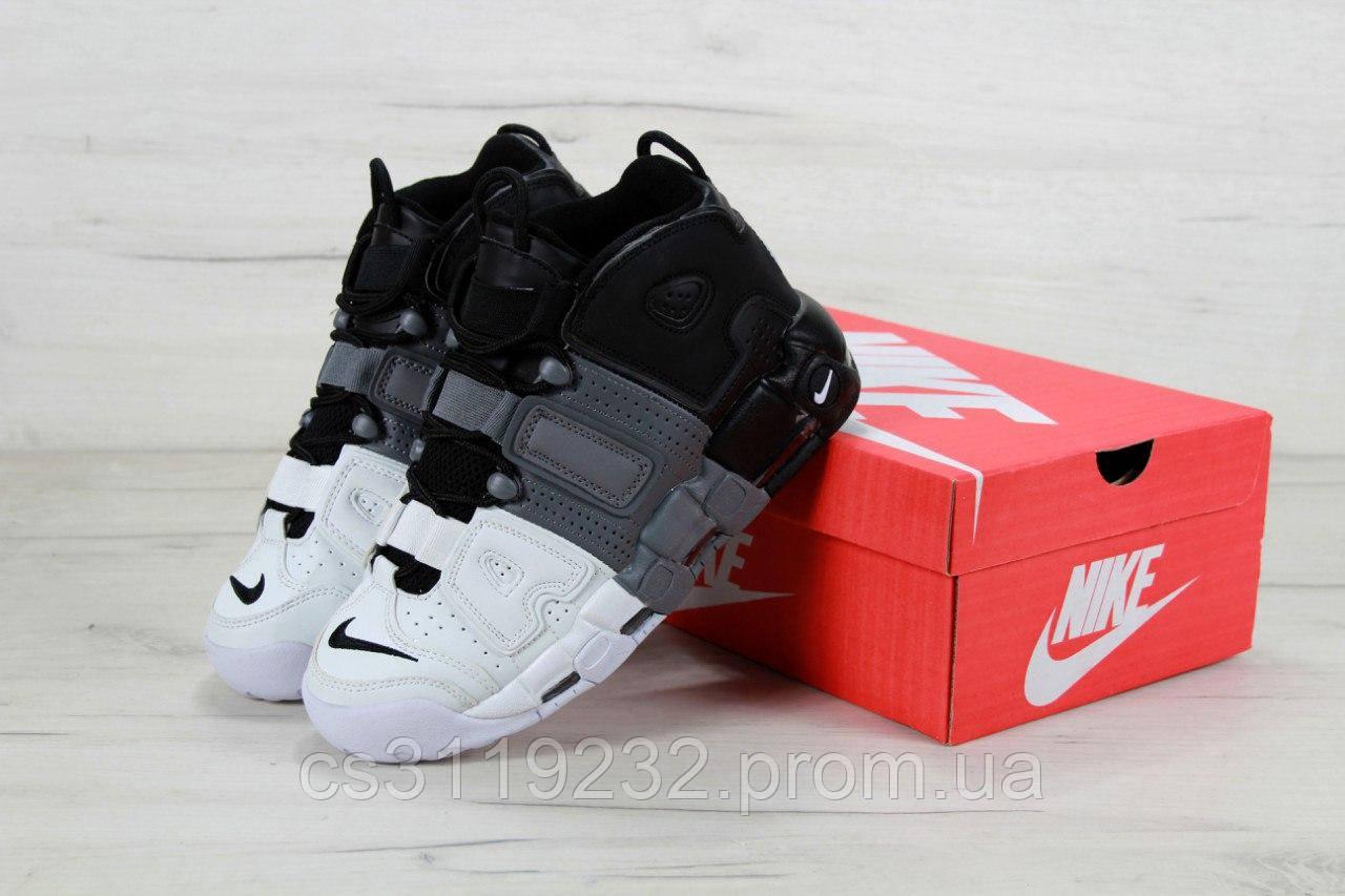 Мужские кроссовки Nike Air More Uptempo Black Gray White (черно-белые)