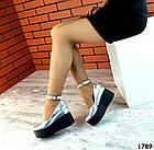 Женские туфли цвета серебро на платформе, натуральная кожа 37 ПОСЛЕДНИЙ РАЗМЕР, фото 2