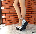 Женские туфли цвета серебро на платформе, натуральная кожа 37 ПОСЛЕДНИЙ РАЗМЕР, фото 5