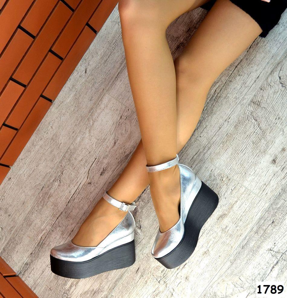 Женские туфли цвета серебро на платформе, натуральная кожа 37 ПОСЛЕДНИЙ РАЗМЕР