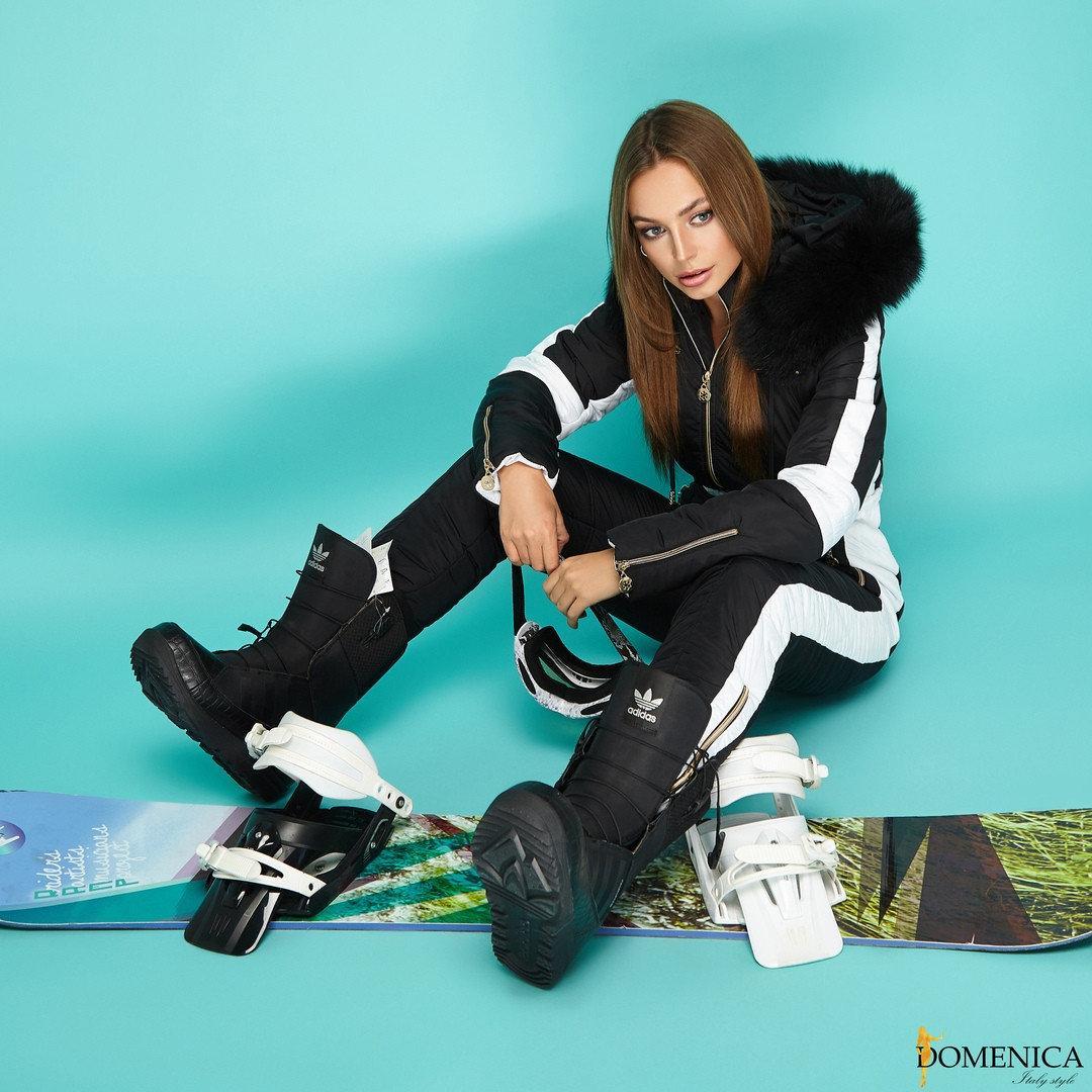 Женский лыжный комбинезон с лампасами и мехом песца tez310834