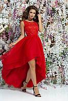 Червона сукня з ажурним верхом 42,44,46
