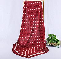 Платок 90х90 Темно-красный в Горошек Р-058