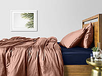 Комплект евро взрослого постельного белья сатин BEIGE BLUE-S