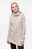 Длинный вязаный свитер (42-44, шампиньон, 60% акрил/ 30% шерсть/ 10% эластан)