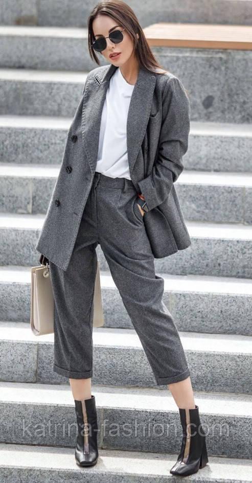 Женский шерстяной костюм: пиджак и брюки с высокой посадкой (в расцветках)