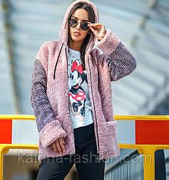 Женская куртка пряжа + мех с капюшоном (в расцветках)