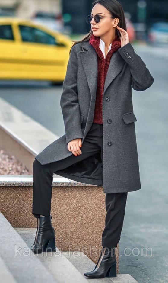 Женский прямое пальто с отложным воротником (в расцветках)