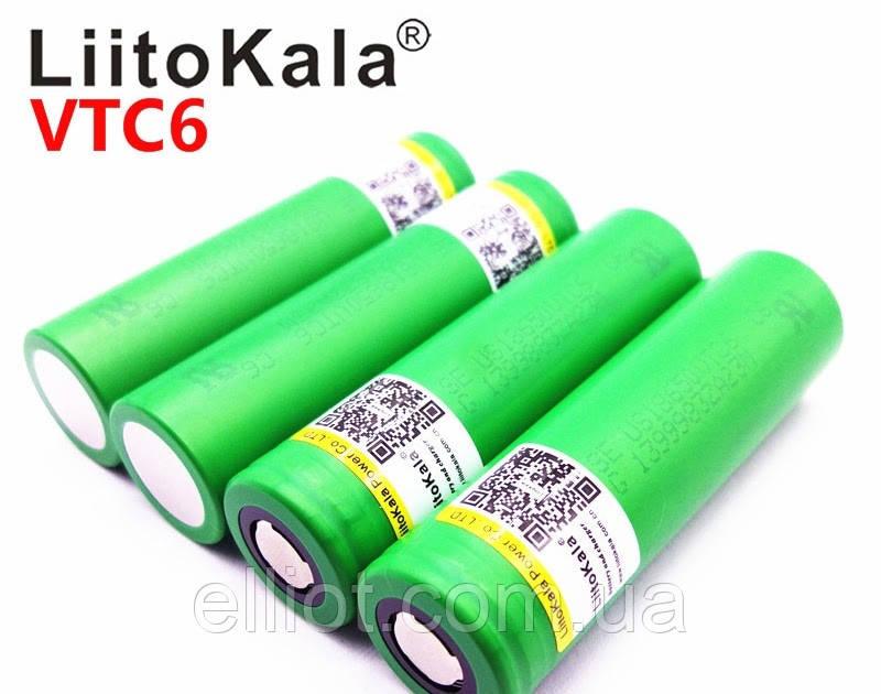 Sony 18650 VTC6 3000 mAh 30А аккумулятор вейп LiitoKala Li-Ion