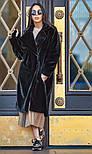 Женская шуба из искусственного меха кролика с поясом и отложным воротником (в расцветках), фото 7
