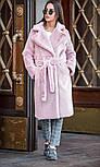 Женская шуба из искусственного меха кролика с поясом и отложным воротником (в расцветках), фото 3
