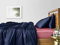 Комплект евро взрослого постельного белья сатин DARK BLUE PUDRA-S