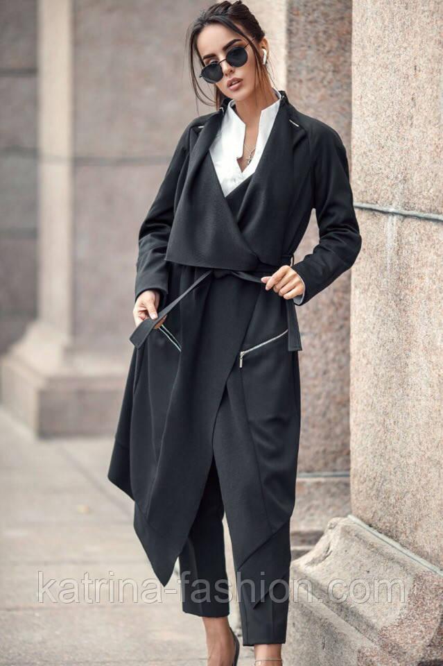 Женский стильный черный кардиган свободного кроя с поясом