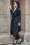 Женский стильный черный кардиган свободного кроя с поясом, фото 3
