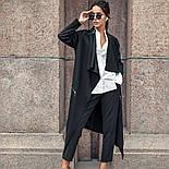 Женский стильный черный кардиган свободного кроя с поясом, фото 4