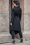 Женский стильный черный кардиган свободного кроя с поясом, фото 5
