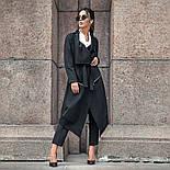 Женский стильный черный кардиган свободного кроя с поясом, фото 6