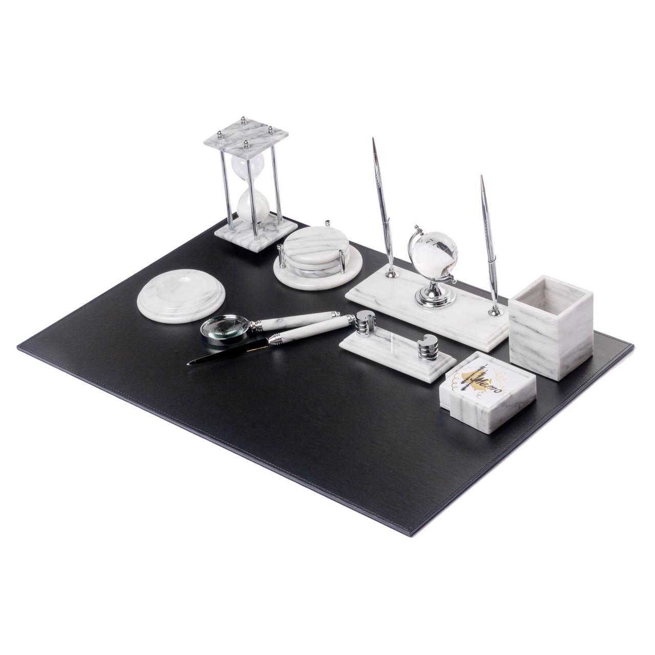 Настольный набор для руководителя мраморный белый на 10 предметов