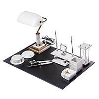 Элитный настольный набор для руководителя из белого мрамора на 11 предметов