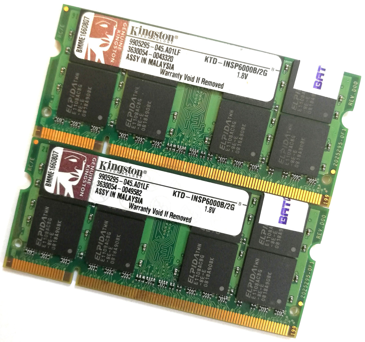 Оперативная память для ноутбука Kingston SODIMM DDR2 4Gb (2Gb+2Gb) 667MHz 5300 2R8  CL5 (KTD-INSP6000B/2G) Б/У
