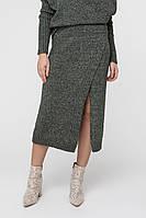 Женская вязаная зеленая юбка(42-44, темно-зеленый)