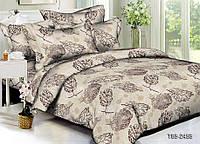 Двуспальный комплект постельного белья серый из полиэстера «Осенний лист»