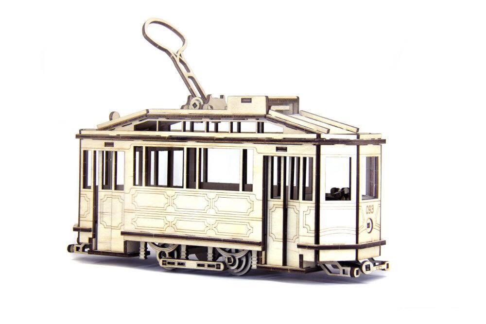 Механічний дерев'яний 3D конструктор WOODZLE SANOK SW 1 модель трамваю 151  дет. (SUN5165)