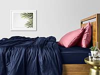 Комплект евро взрослого постельного белья сатин DARK BLUE PUDRA-P