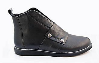 Демисезонные женские ботинки кожаные   36-41 черный