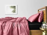 Комплект евро взрослого постельного белья сатин PUDRA BLACK-S