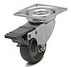 Колесо с поворотным кронштейном с площадкой м тормозом, диаметр 75 мм, нагрузка 50 кг
