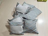 Комплект подушек ромбик бирюза с серым, 7шт, фото 1
