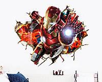3D интерьерные виниловые наклейки на стены Железный Человек 70-50 см в детскую . Декор, Обои Марвел Мстители 3