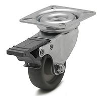 Колесо с поворотным кронштейном с площадкой и тормозом, диаметр 50 мм, нагрузка 40 кг