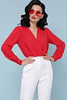Эффектная женская блуза-боди на запах красная, фото 1