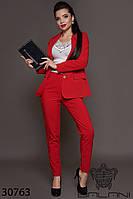 Женский брючный красный костюм (размеры S M L)