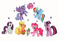 3D интерьерные виниловые наклейки на стены My little pony 6 шт 70-50 см в детскую . Декор, Обои Май Литл Пони